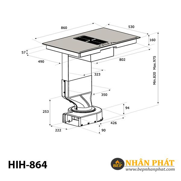 Bếp 4 từ kết hợp máy hút mùi MALLOCA HIH-864 4