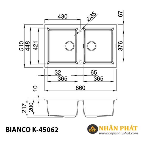 Chậu rửa chén đá granite nano Malloca BIANCO K-45062 5