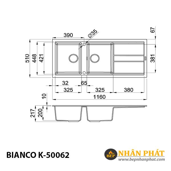 Chậu rửa chén đá granite nano Malloca BIANCO K-50062 5