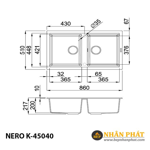 Chậu rửa chén đá granite nano Malloca NERO K-45040 5