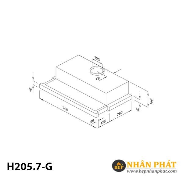 Máy hút mùi âm tủ Malloca H205.7-G 5