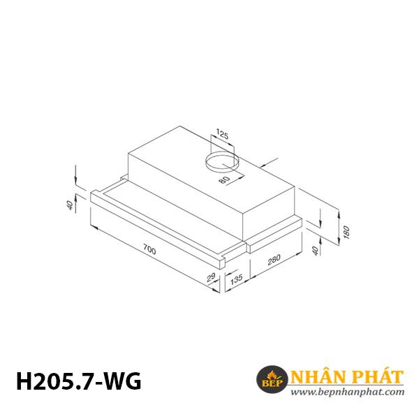 Máy hút mùi âm tủ Malloca H205.7-WG 5