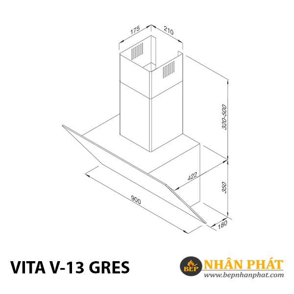 Máy hút mùi áp tường Malloca VITA V-13 GRES 5