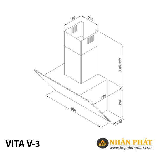 Máy hút mùi áp tường Malloca VITA V-3 5
