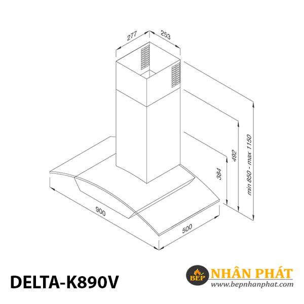 Máy hút khử mùi áp tường Malloca DELTA-K890V 5