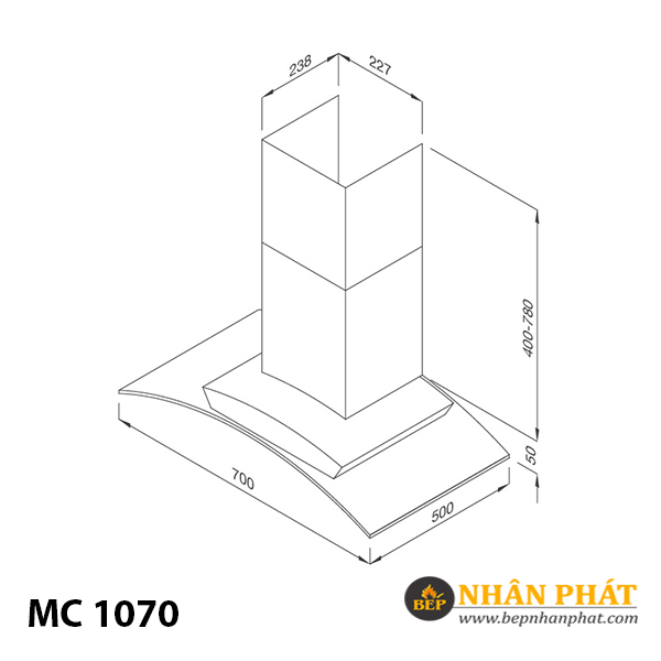 Máy hút khử mùi áp tường Malloca MC 1070/1090 5