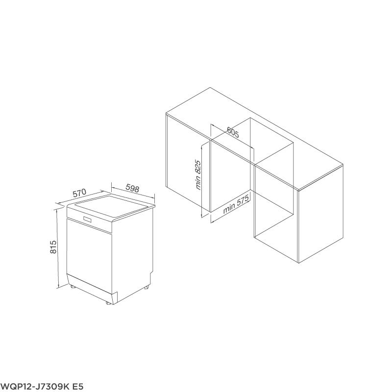 Máy Rửa Chén Âm Tủ Malloca WQP12-J7309K E5 4