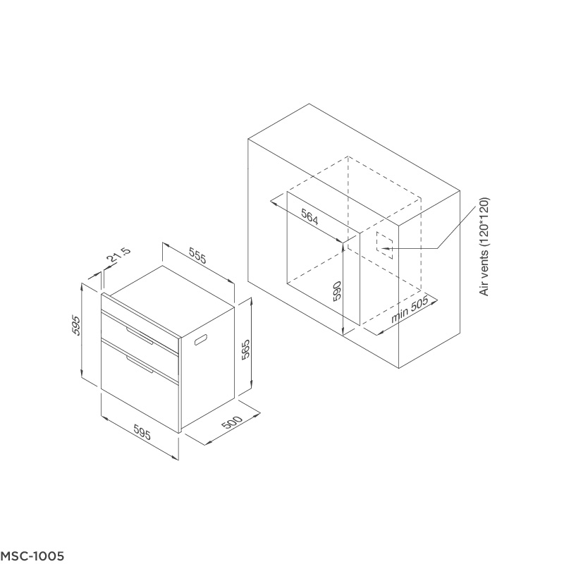 Máy sấy chén âm tủ Malloca MSC-100A 4