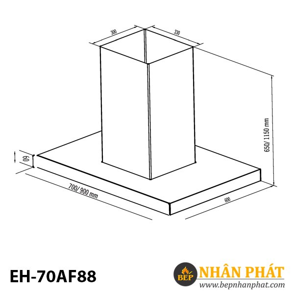 MÁY HÚT MÙI ỐNG KHÓI EUROSUN EH-70AF88