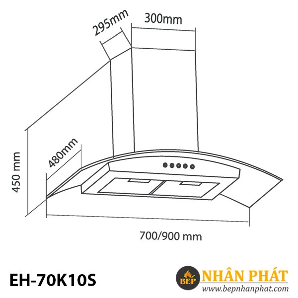MÁY HÚT MÙI KÍNH CONG EUROSUN EH-70K10S