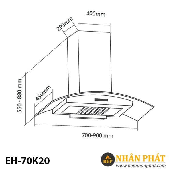 MÁY HÚT MÙI ỐNG KHÓI EUROSUN EH-70K20