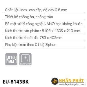 Chậu rửa inox EUROSUN EU-8143BK