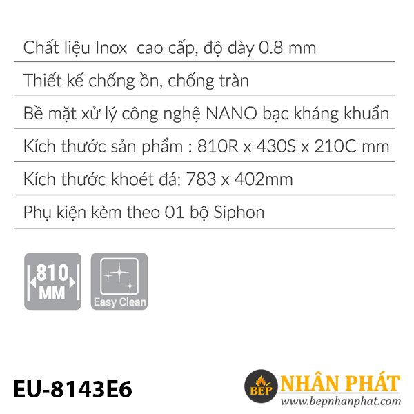 Chậu rửa inox EUROSUN EU-8143E6