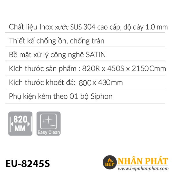 Chậu rửa inox EUROSUN EU-8245S