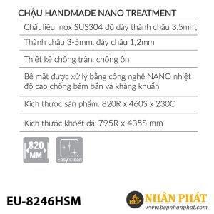 Chậu rửa inox EUROSUN EU-8246HSM