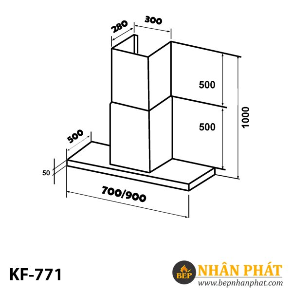 MÁY HÚT MÙI ỐNG KHÓI KÍNH TOA KAFF KF-771