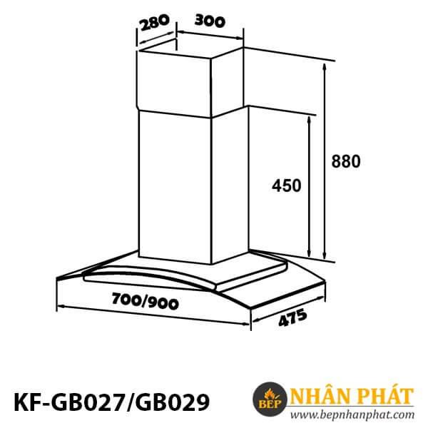 MÁY HÚT MÙI KÍNH CONG KAFF KF-GB027/GB029