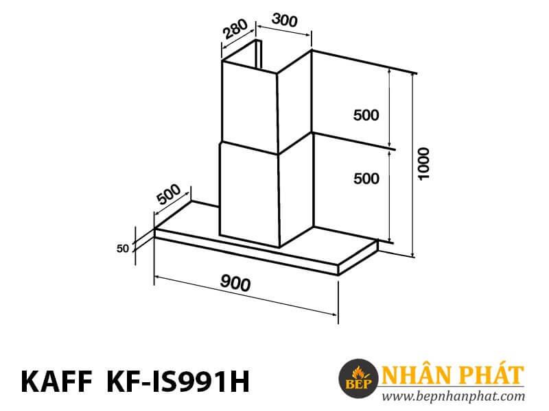 Máy hút mùi bếp toa 9 tấc treo đảo độc lập KAFF KF-IS991H