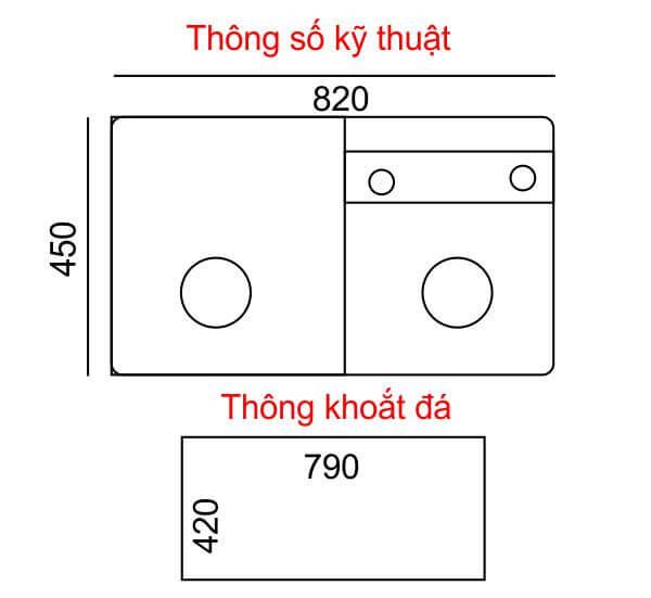 CHẬU RỬA CHÉN DẬP IR-8245LD4 4
