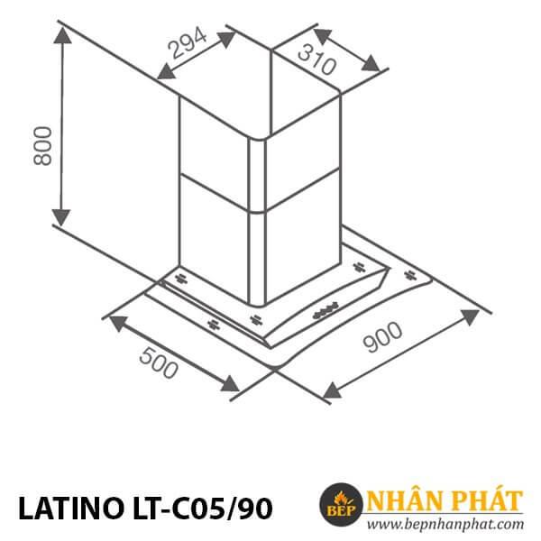 MÁY HÚT MÙI KÍNH CONG LATINO LT-C05/90