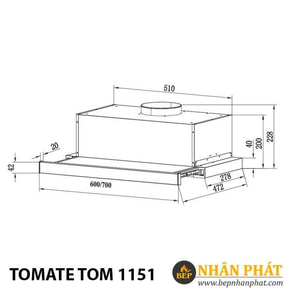MÁY HÚT MÙI ÂM TỦ TOMATE TOM 1151