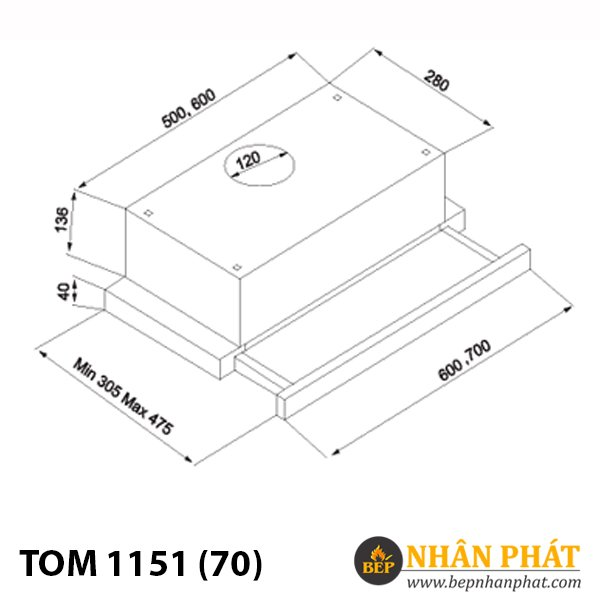 Máy hút mùi âm tủ TOMATE TOM 1151 (70)