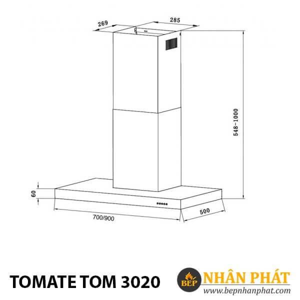MÁY KHỬ MÙI ỐNG KHÓI TOMATE TOM 3020 (70cm)