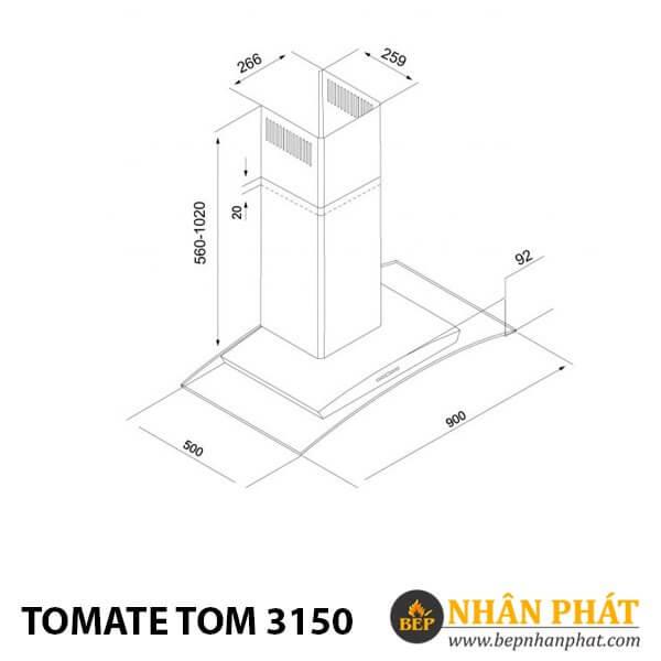 MÁY HÚT MÙI ỐNG KHÓI TOMATE TOM 3150