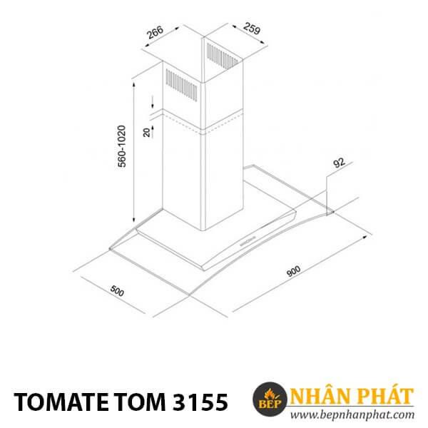 MÁY HÚT MÙI ỐNG KHÓI TOMATE TOM 3155