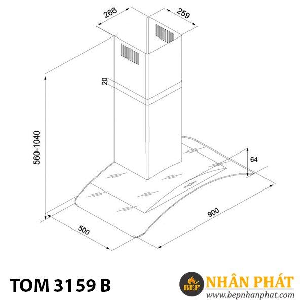 Máy hút khử mùi treo tường TOM 3159B