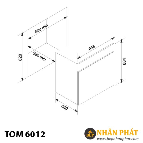 Máy rửa chén âm tủ TOM 6012