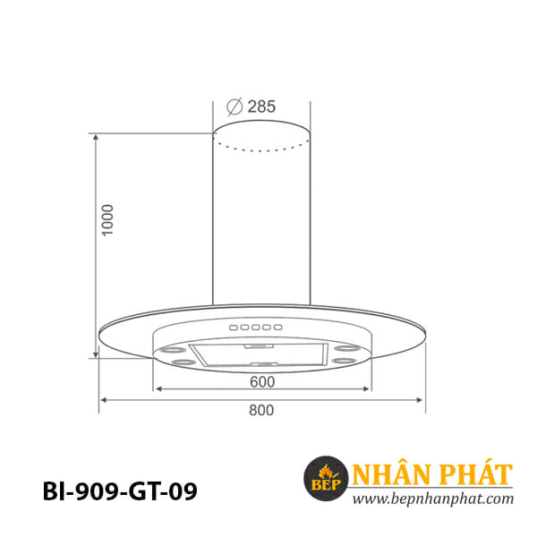 Máy hút mùi đảo BINOVA BI-909-GT-09 5