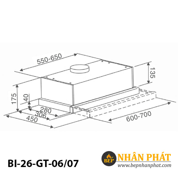 Máy hút mùi âm tủ BINOVA BI-26-GT-06/07 5