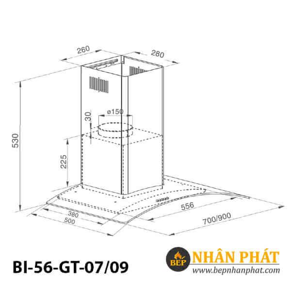 Máy hút mùi kính cong BINOVA BI-56-GT-07/09 5