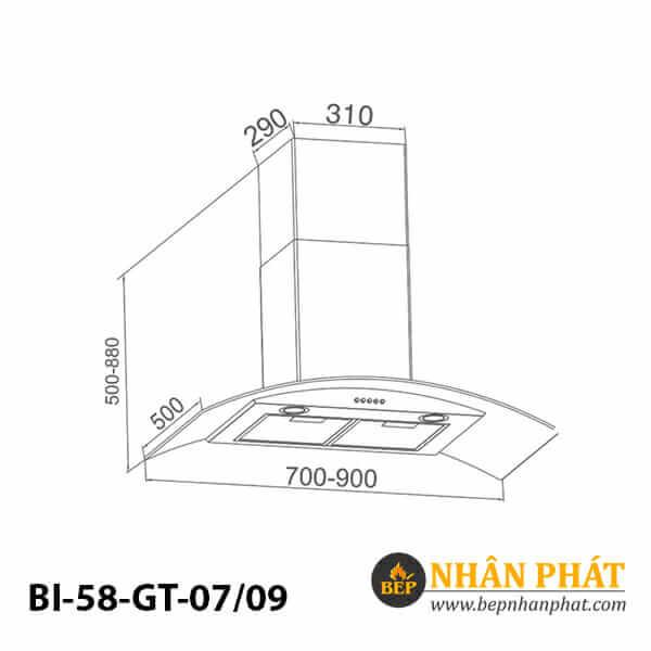Máy hút mùi kính cong BINOVA BI-58-GT-07/09 5