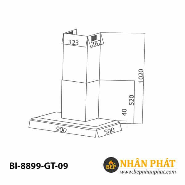 Máy hút mùi toa vuông BINOVA BI-8899-GT-09 5