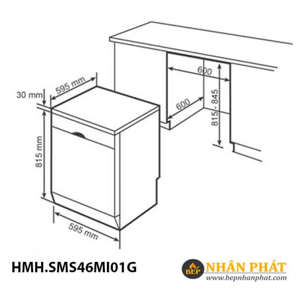 Máy rửa chén Bosch HMH.SMS46MI01G Serie 4 5