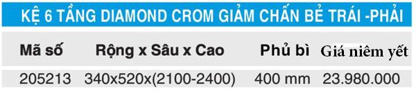 Tủ đồ khô 6 tầng diamond mở trái-phải inox mạ crom Higold 205213 5