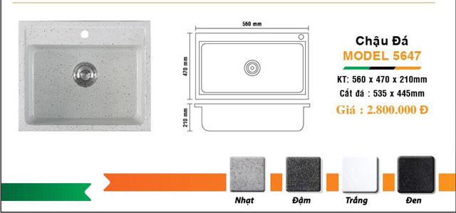 Chậu rửa chén 1 hộc đá nhân tạo IR-5647 7
