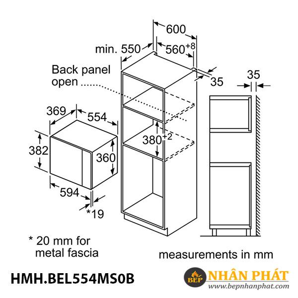 Lò vi sóng Bosch 25 lít HMH.BEL554MS0B Serie 6 5