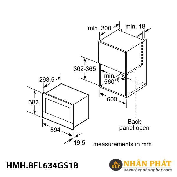 Lò vi sóng Bosch 21 lít HMH.BFL634GS1B Serie 8 5