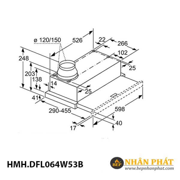 Máy hút mùi âm tủ Bosch HMH.DFL064W53B Serie 2 - 60cm 5