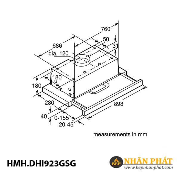 Máy hút mùi âm tủ Bosch HMH.DHI923GSG Serie 4 - 90cm 5