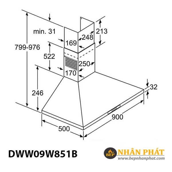 Máy hút mùi gắn tường Bosch DWW09W851B - 90cm 5