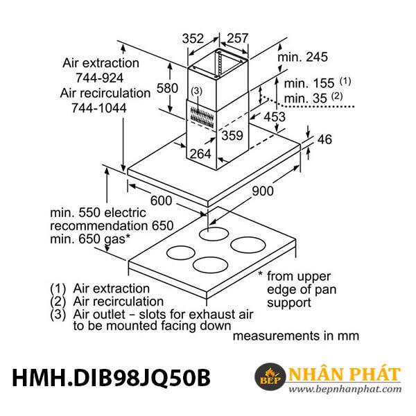 Máy hút mùi đảo Bosch HMH.DIB98JQ50B Serie 6 - 90cm 5