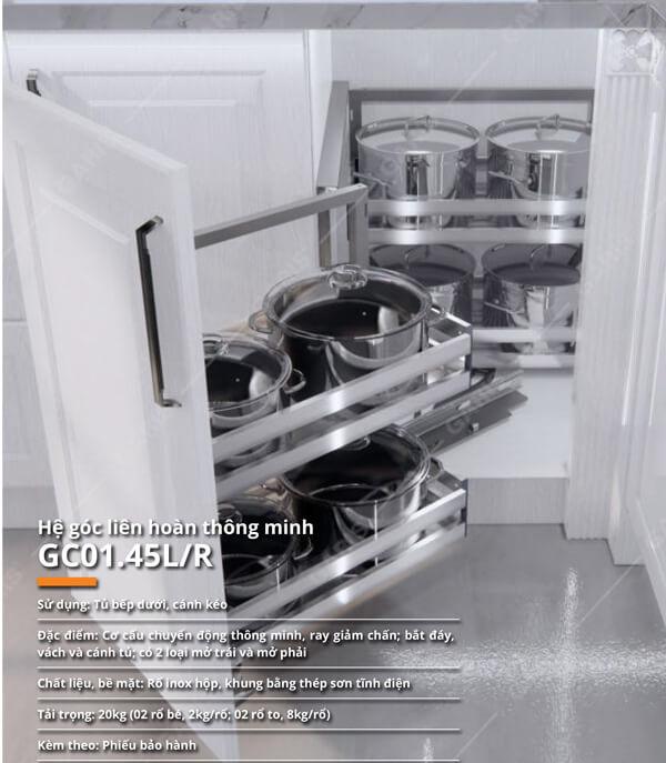 Hệ góc liên hoàn nan inox dạng hộp Garis GC01.45L/R 4