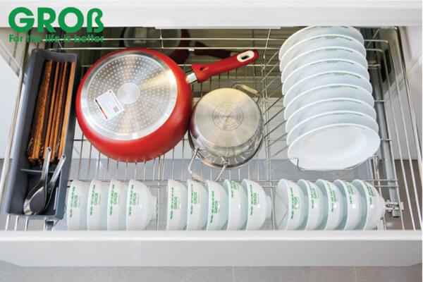Kệ đựng bát đĩa đa năng inox mạ crom nan vuông Grob CR-61 3