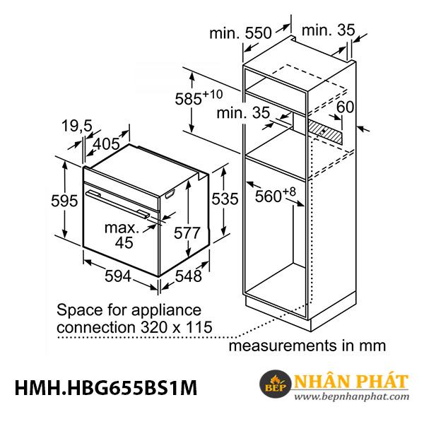 Lò nướng âm tủ Bosch 71 lít HMH.HBG655BS1M Serie 8 5