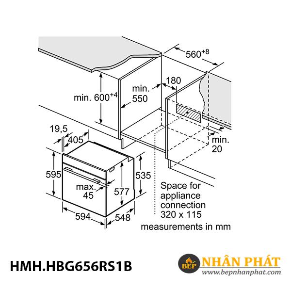 Lò nướng âm tủ Bosch 71 lít HMH.HBG656RS1B Serie 8 5