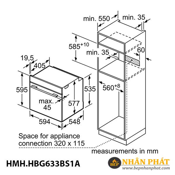Lò nướng âm tủ Bosch 71 lít HMH.HBG633BS1A Serie 8 5